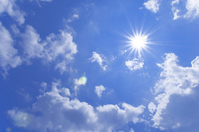 Blue sky and the sun and white clouds Stock photo [1483673] Blue