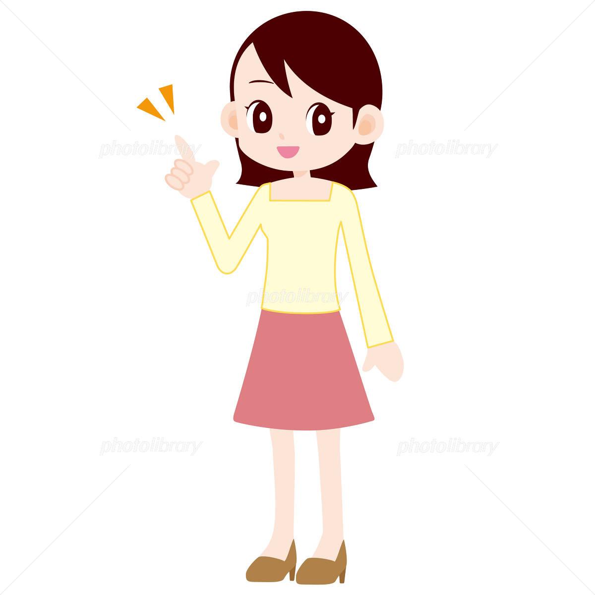 スカートをはいた女性 指差し イラスト素材 1766579 フォトライブ