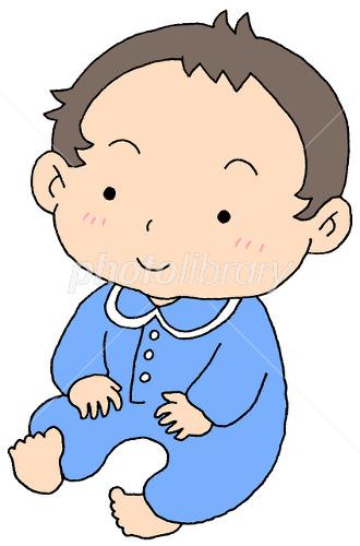 おすわり 赤ちゃん 水色 イラスト素材 1770962 無料 フォトライブ