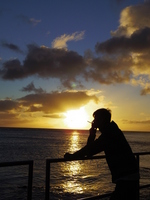 Sunset over the male silhouette and the sea Stock photo [1761869] Man
