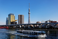 Sumida River pleasure boat-Yuataun and Tokyo Sky Tree Stock photo [1765385] Landscape