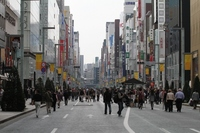 Ginza Boulevard pedestrian stock photo