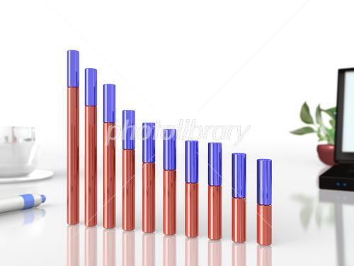 業績の悪化を表す3DCGグラフのイラスト