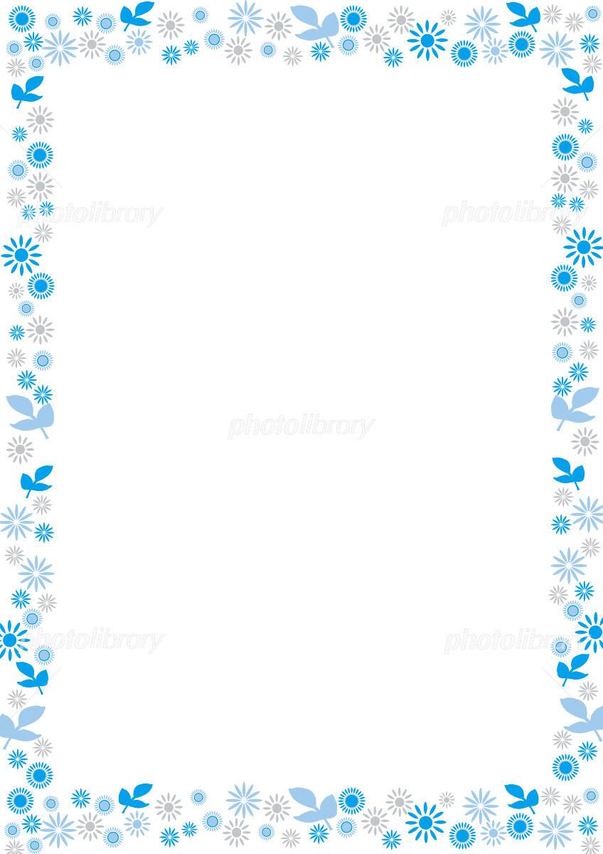 青い花の飾り枠 イラスト素材 ...