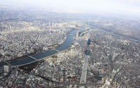 Aerial than 600m over the Tokyo Sky Tree under construction Stock photo [1981692] Sky