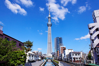 I face the Tokyo Sky Tree that blue sky spreads than Jitsuken Bridge Stock photo [1983420] Landscape
