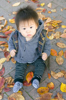 Baby looking up sitting in the fallen leaves Stock photo [2085565] Baby