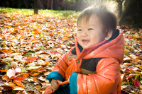 Autumn leaves and a happy baby Stock photo [2087932] Baby