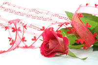 Synthesis of red roses and heart of ribbon and music Stock photo [2097522] Rose