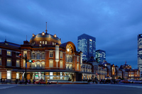 Light-up of Tokyo Station Marunouchi station building of preservation and restoration work completed Stock photo [2195493] Landscape