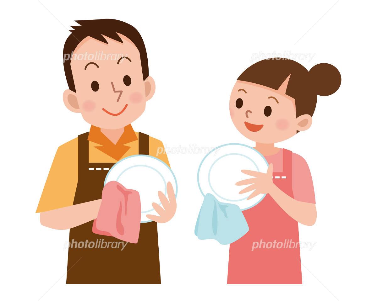 皿を拭くカップル イラスト素材 2449096 フォトライブラリー