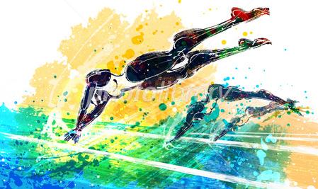 飛び込み 競泳 イラスト素材 2450107 フォトライブラリー Photolibrary