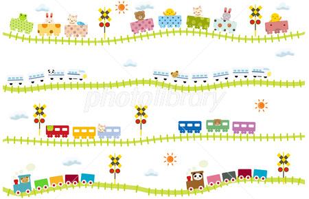 子供向け可愛い踏切のある線路を走る動物電車 イラスト素材 2450272