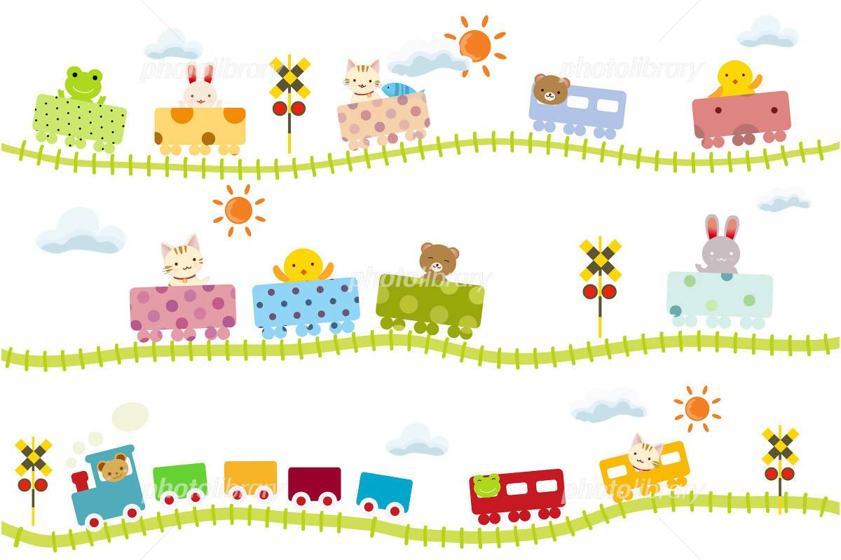 子供向け可愛い踏切のある線路を走る動物電車 イラスト素材 2450276