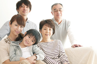 The smile sitting on the sofa 3 generation family Stock photo [2442661] Person
