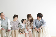 The smile sitting on the sofa 3 generation family Stock photo [2442688] Person