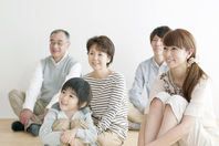 The smile sitting on the floor three generations family Stock photo [2442690] Person