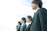 Businessman and businesswoman lined up in a row Stock photo [2442942] Person