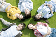 Young people lie down on the lawn Stock photo [2443095] Person