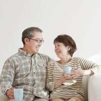 Smile on the sofa senior couple Stock photo [2444802] Person