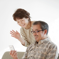 See the screen of the smartphone senior couple Stock photo [2445062] Person