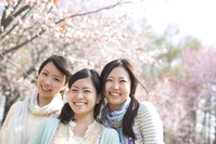 3 women of that smile in front of Sakura Stock photo [2446913] Person