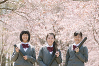 Junior high school students to smile in front of Sakura Stock photo [2446978] Person