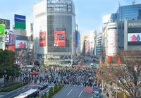 Shibuya Station of scramble crossing pedestrians come and go Stock photo [2447050] Shibuya