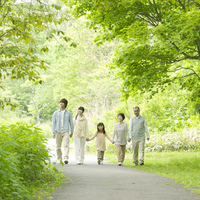 Holding Hands in fresh green 3 generation family Stock photo [2447064] Person