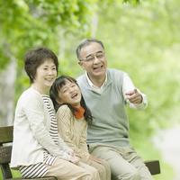 Smiles grandparents and grandchildren sitting on a bench Stock photo [2447092] Person