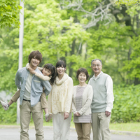 Smile in the fresh green 3 generation family Stock photo [2447146] Person