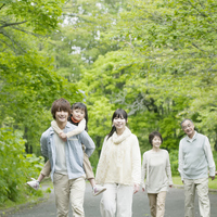 3 generation family walk in the fresh green Stock photo [2447150] Person