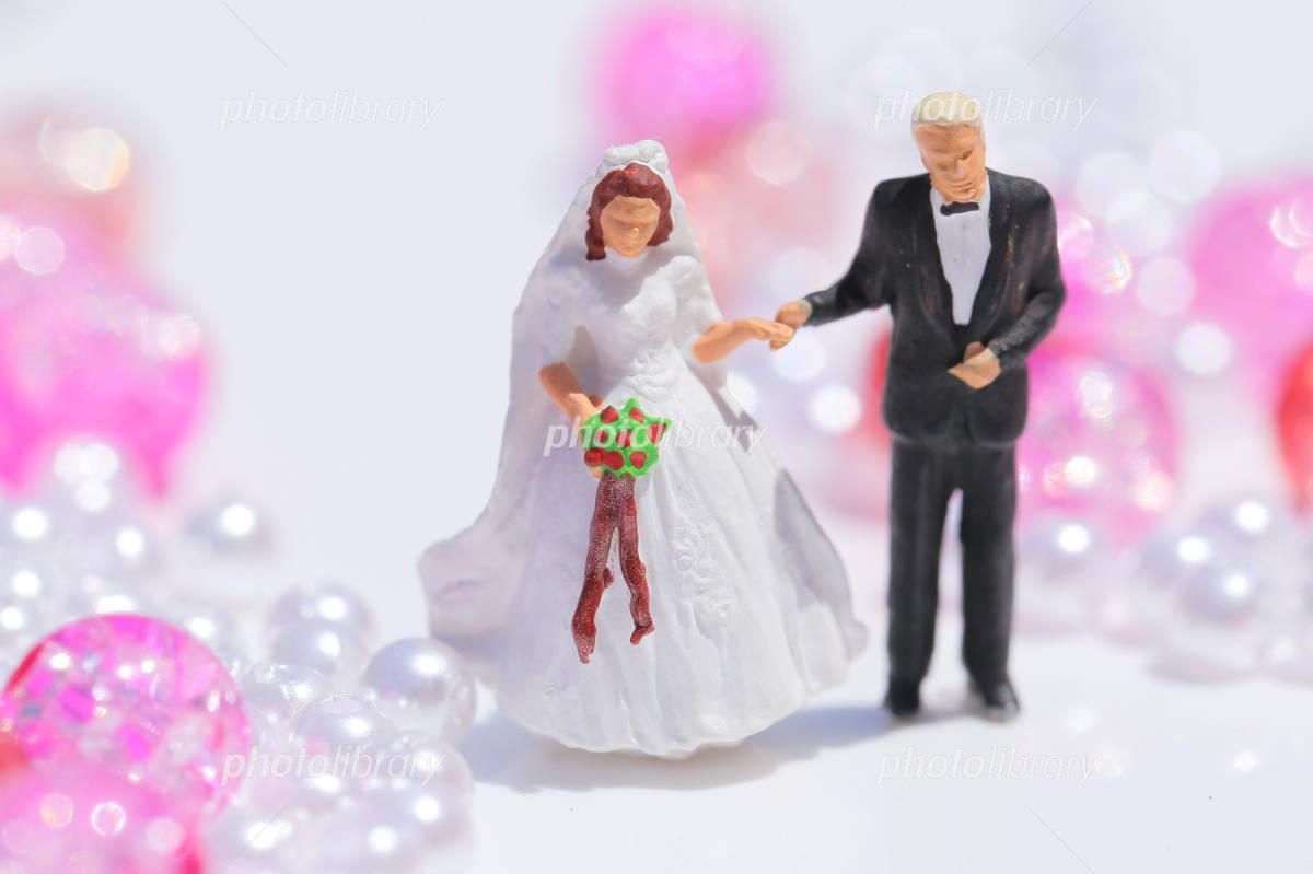 Pink beads and the bride and groom Photo
