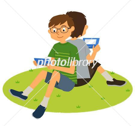ゲームする子供たち外 イラスト素材 2568870 フォトライブラリー