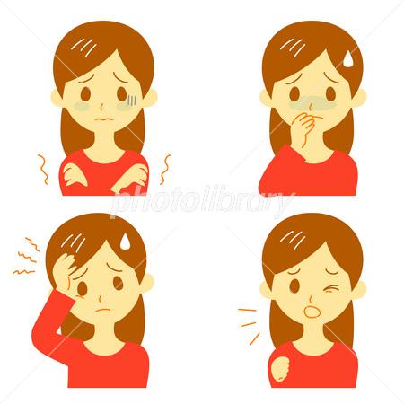 病気の症状(悪寒、吐き気、頭痛、咳)女性