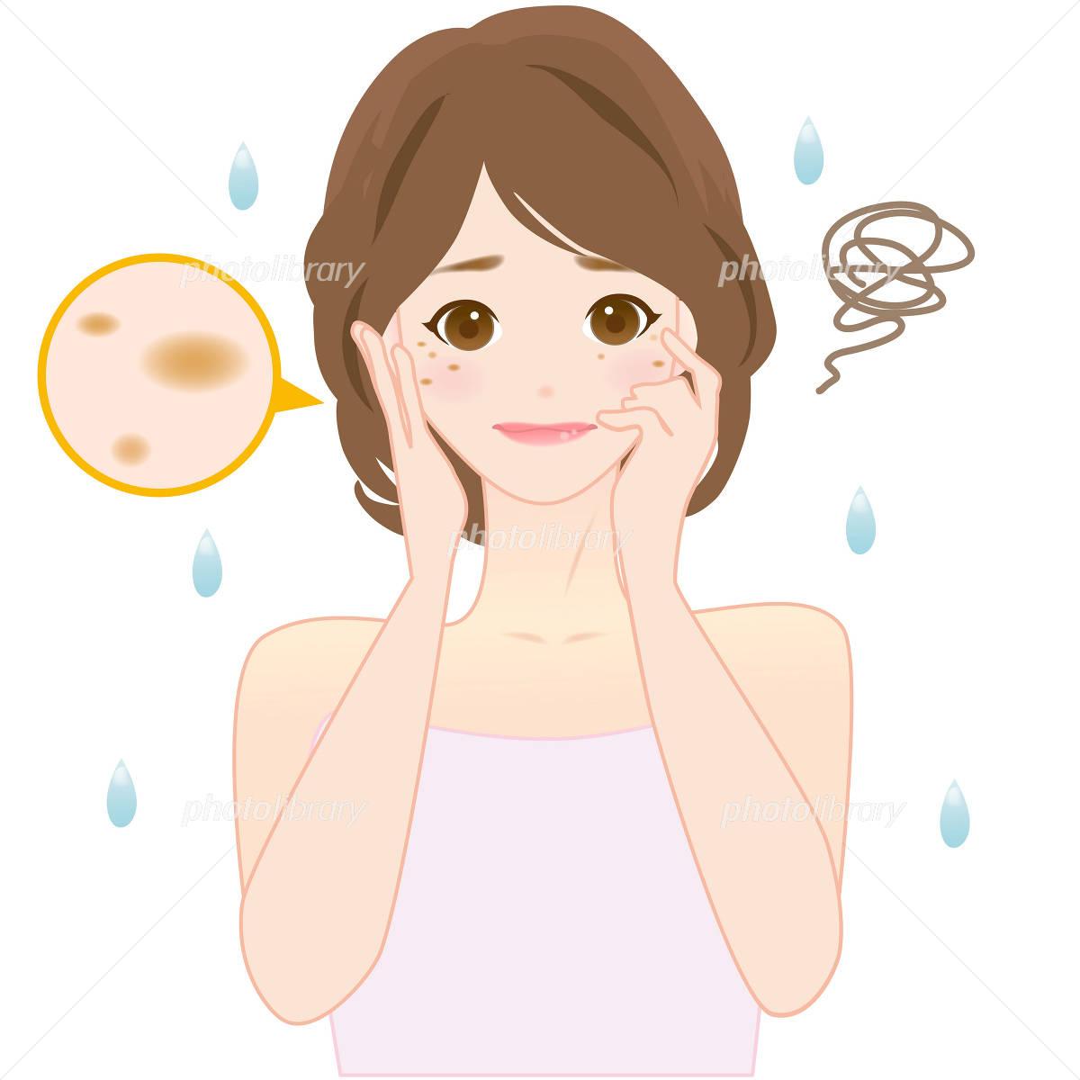 女性 肌のトラブル シミ 皺 イラスト素材 2671254 フォトライブ