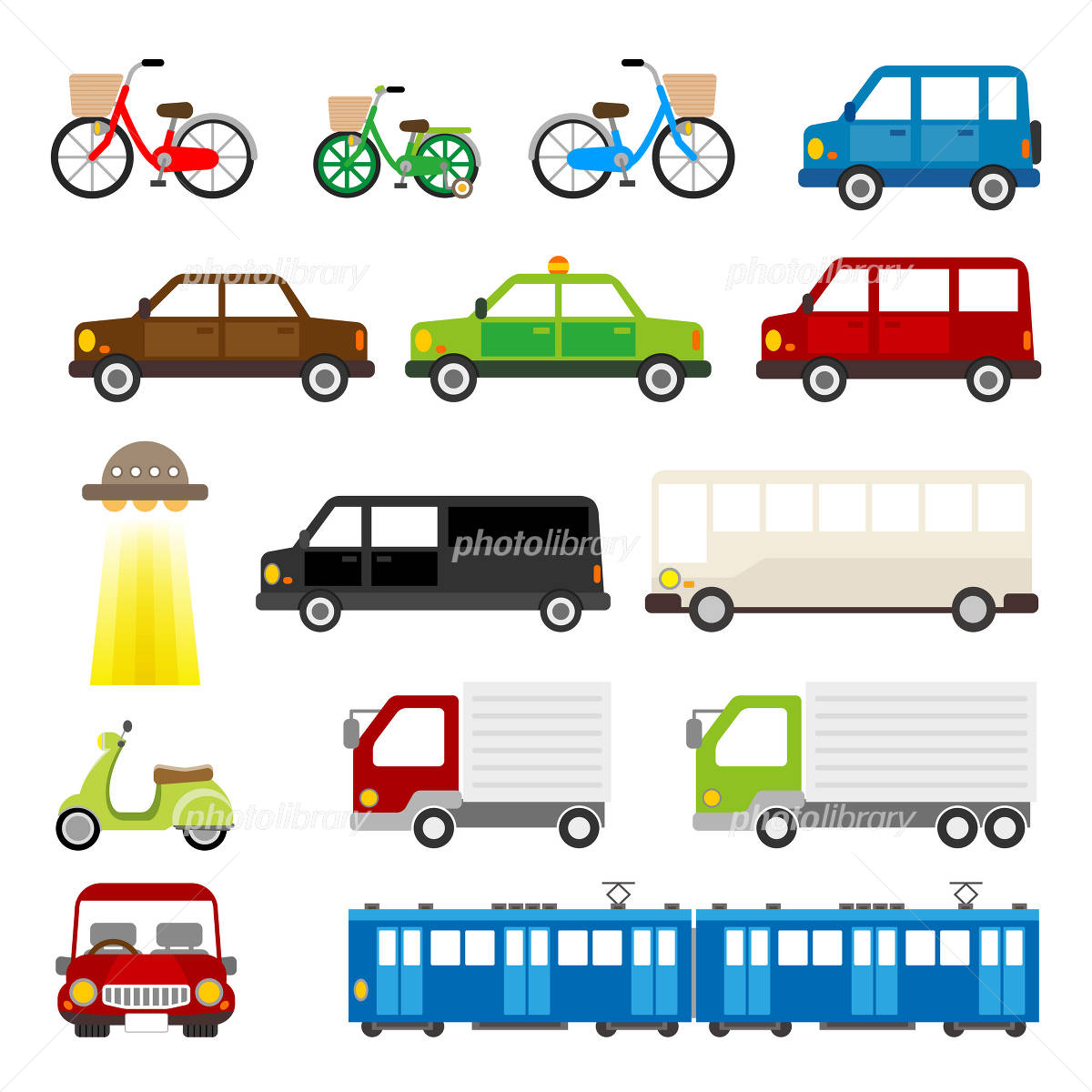 Car truck bicycle train taxi ride イラスト素材