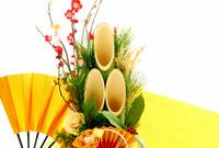 Kadomatsu and golden New Year image of fan white back Shochikubai Stock photo [2677264] Kadomatsu