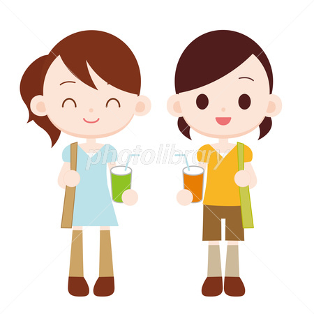 女の子2人 お出かけ イラスト素材 2754722 フォトライブラリー