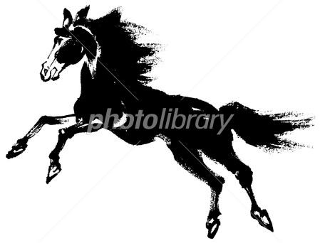 墨絵 走る馬 横 イラスト素材 2758661 フォトライブラリー
