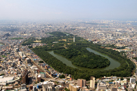Aerial the Nintoku Mausoleum tumulus of Sakai City, Osaka Prefecture Stock photo [2759336] Daisen