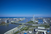 Shinano River estuary willow Metropolitan Bridge and Toki Messe Stock photo [2761139] Niigata