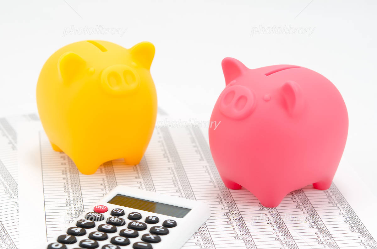 Piggy bank of calculator and pig (pink and yellow) Photo