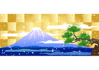 Fuji and pine golden checkered background [2842804] Mt.