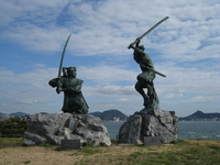 Miyamoto Musashi and Sasaki Kojiro statue and sky Stock photo [2849823] Shimonoseki