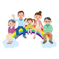 Happy big family sitting on bridge of the rainbow [2928487] Family