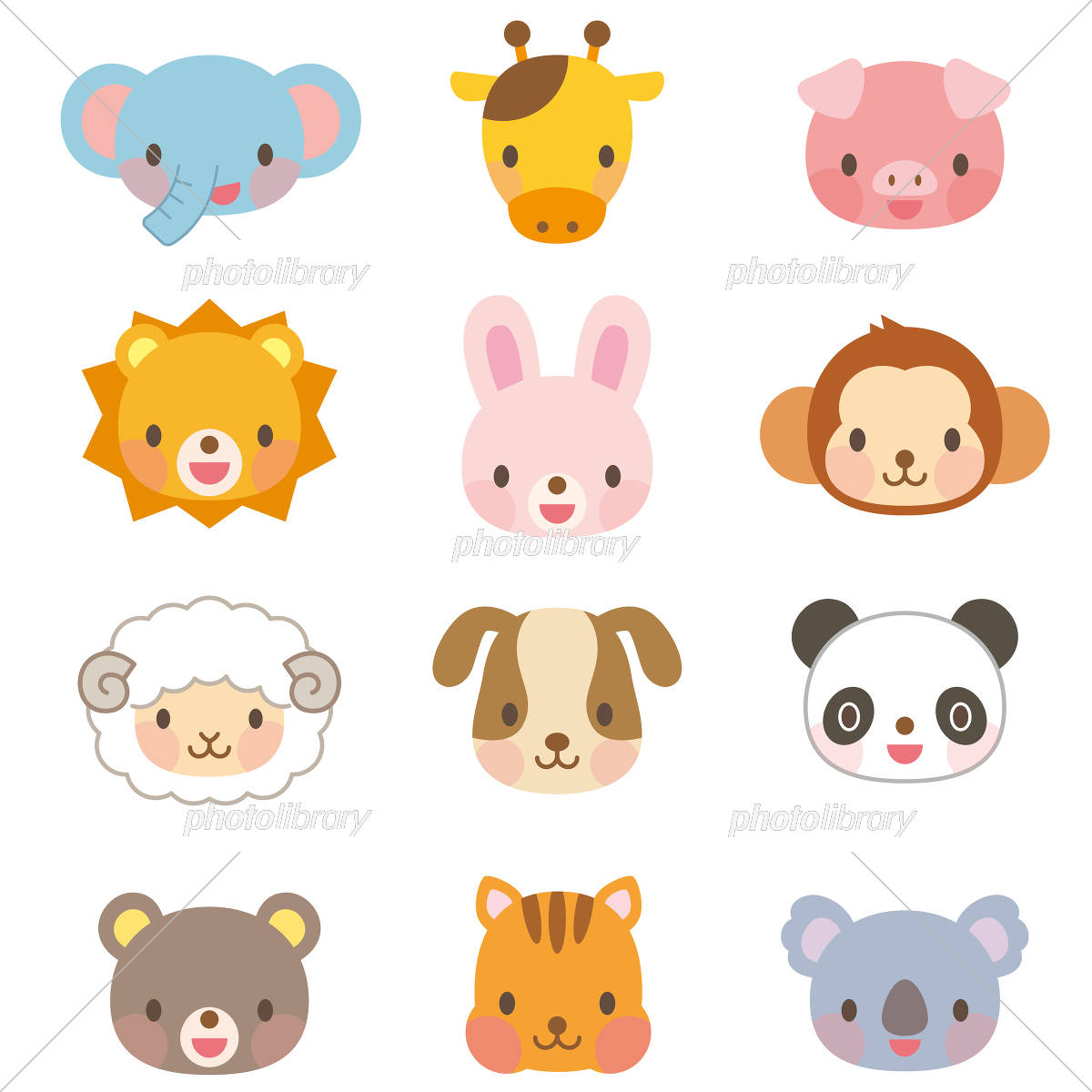 Cute animal illustration set イラスト素材