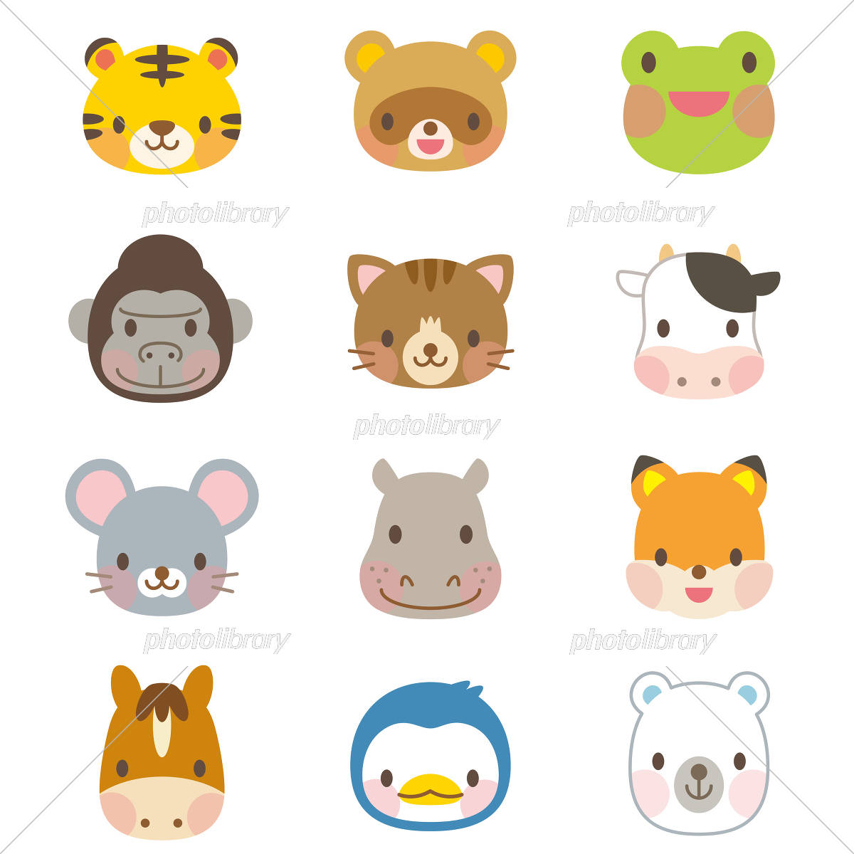 かわいい動物イラスト セット イラスト素材 3008838