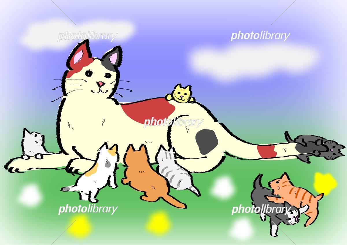 母猫と子猫たち イラスト素材 3094226 無料 フォトライブラリー