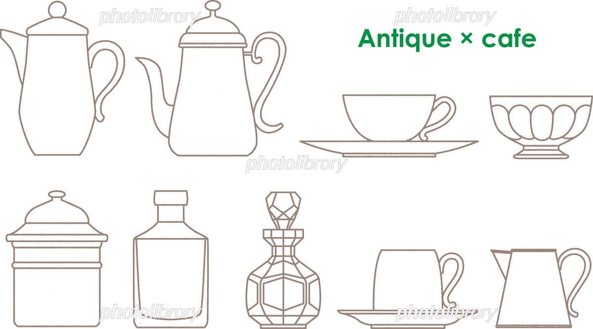 カフェ食器手書き風 イラスト素材 3190287 フォトライブラリー